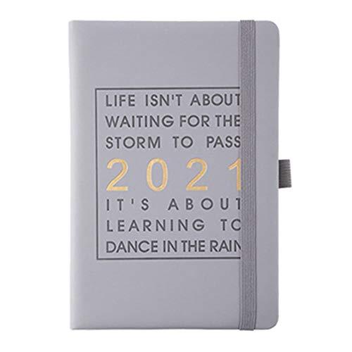 WANGIRL Diario Agenda 2021 un Día por Página Planificador Diaria 2021 con Indice Marcador Posición de la Pluma Tapa Dura y Bolsillo Trasero Páginas de Notas y Dirección Semanal 2021 Diario