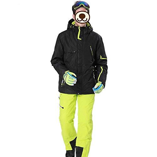 Ski-jack Heren Ski Wear 2-delig waterdichte jas/broek winddicht verdikt warme outdoor katoenen jas/slabbetje skiën klimmen ideale skikkleding in de winter (kleur: geel, maat: X-Large)