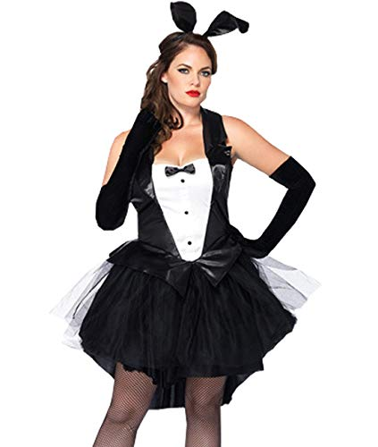 Kadila Sexy Bunny Kostüm Set für Damen Cosplay Outfit Tuxedo Dessous Set Party Halloween Kostüm