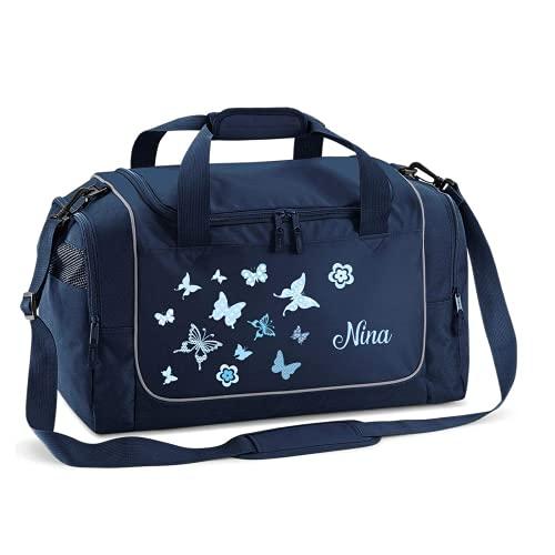 Mein Zwergenland Sporttasche Kinder personalisierbar 38L, Kindersporttasche mit Name und Schmetterling Bedruckt in French Navy Blau