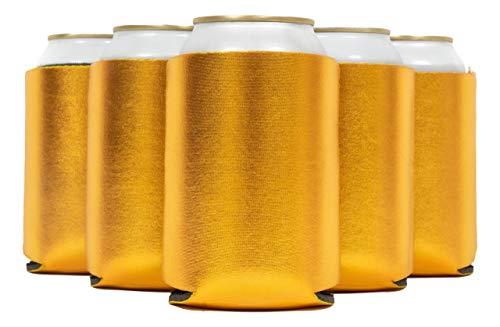 QualityPerfection 25 Beer Blank Can Cooler Sleeve, Coolies Sublimation HTV Insulated, Collapsible For DIY Customizable, Favors, Parties, Events or Weddings (25, Metallic Gold)