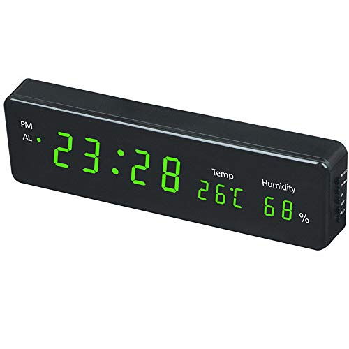 COMBIUBIU Digital Wall Clock Large12 LED Time Calendar Temperature Humidity Display Desk Table Clocks Electronic LED Wall Watch Decor for Kids, Boys, Heavy Sleepers (Green)