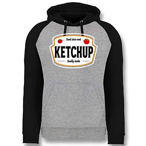 Shirtracer Karneval & Fasching - Ketchup Kostüm Karneval Fasching - XXL - Grau meliert/Schwarz - Ketchup - JH009 - Baseball Hoodie