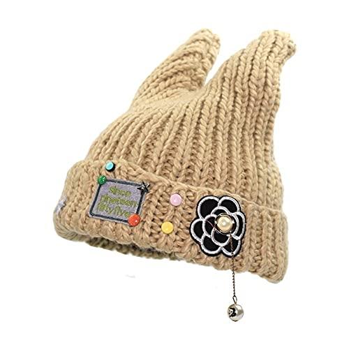 YUHUA-SHOP1983 Gorros Mujeres Chicas Woolen Sombrero Puro Color Invierno Lindas Orejas Doble Orejas de Punto Gorras de Punto Sombreros (Color : Beige, Size : One Size)