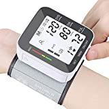 Blood Pressure Monitor Voice Broadcast Automatic Wrist High Blood Pressure Monitors Portable LCD Screen Irregular Heartbeat Monitor with Adjustable Cuff and Storage Case Powered by Battery - Black