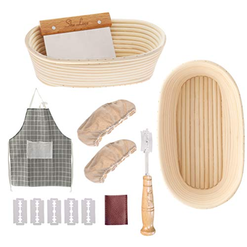 She Love Bread Proofing Basket, 10 Inch Oval Banneton Natural Rattan Proofing Basket for Sourdough Bread Baking with Cloth Liner Bread Cutter Dough Scraper (10')