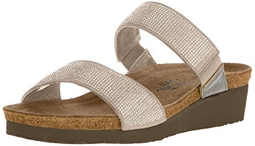 Naot Footwear Women's Bianca Beige w/Silver Rivets/Mirror Lthr Sandal 9 M US