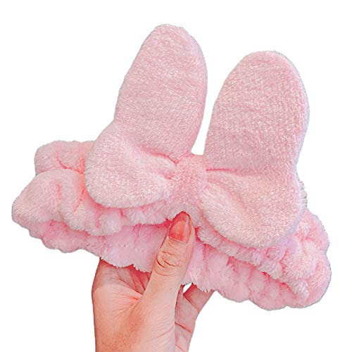 Qiman Diadema de felpa para mujer, para otoño, con diseño de mariposa, lazo, para lavarse la cara, maquillaje, spa, ducha, elástica, antideslizante