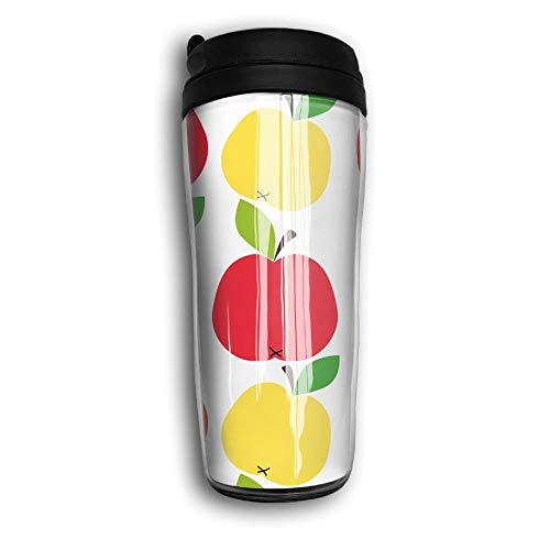 Qurbet Tazza da Viaggio da caffè, Coffee Mug, Kawaii Apples Milk Tea Drinking Bottiglia d'Acqua Coffee Mug Carry Hand Cup Travel Mug Coffee Tumbler for Women Men Kids Teens Adults