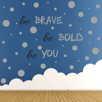 193 PCS Dot Wall Decal, Inspirational Quote, Easy to Peel Easy to Stick Removable Vinyl Polka Dot Decor, Living Room Wallpaper, Black Boy Nursery Wall Decals, Girls Room Decor (Silver)