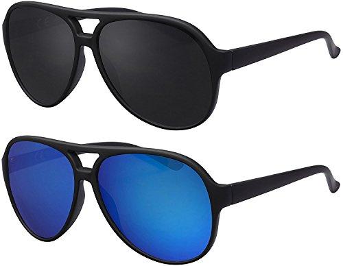 Sonnenbrille Herren Damen La Optica UV400 Retro Pilotenbrille Fliegerbrille - Set Gummiert Schwarz (1 x Grau, 1 x Blau verspiegelt)