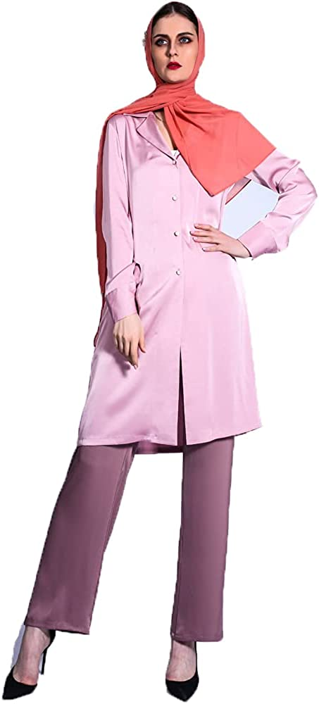 Bigfanshu Women's Autumn Up and Down Color Matching Suit Collar Pakistan Two-Piece Jacket + Pants Muslim Suit