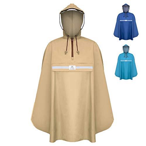 Rainrider Regenponcho (Sandy Beige) für's Fahrrad, Regenbekleidung mit Kapuze inkl. Sichtfenster, Regencape Fahrrad inkl. Reflexionsstreifen - Regenmantel Männer und Frauen