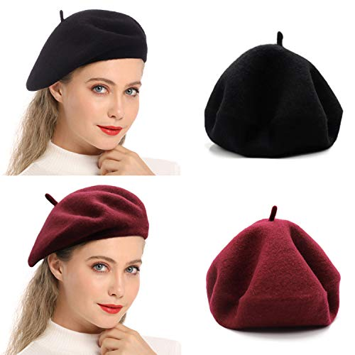 Wheebo Wool Beret Hat,Solid Color French Style Winter Warm Cap for Women Girls Lady (Double Pack-5)