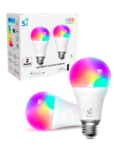 Bombilla inteligente led E27, WIFI pack 2 compatible Amazon Alexa, Google Home, Si Smart Bombilla Gu10 RGB wifi, regulable Multicolor, luces fría a cálidas, App Smart Life & Tuya Smart