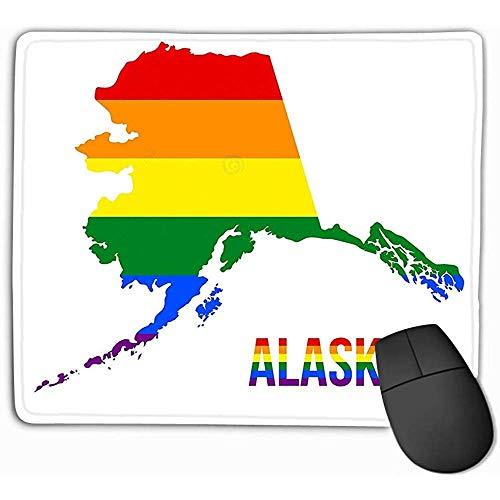 Aangepaste muis Pad,30X25CM Unieke Printed Mouse Mat Design Alaska State map LGBT Regenboog Vlag bestond uit zes strepen Alaska LGBT Tekst Vlag bestond uit zes strepen betekenis voor elke