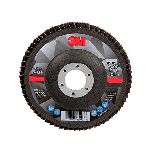 3M Flap Disc 769F - 40+ Grit Ceramic - Type 27 Angle Grinder Disc - Precision Shaped Grain - Metal Grinding and Blending - 4.5