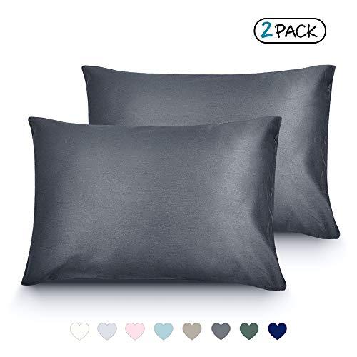 LULUSILK Organic Cotton Toddler Pillowcase 14 x 20, Travel Pillow Case Envelope Closure, Dark Grey (2 Pack)