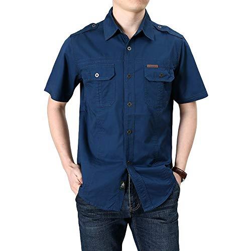 Camisa de Carga de Color sólido para Hombre Moda clásica de un Solo Pecho Tallas Grandes Ropa de Calle Tendencia Camping Camisa de Manga Corta Verano M
