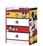 STOR - Comoda Infantil Charm con cajones | Mickey Mouse Stripes | Disney - Dimensiones: 80,5 x 60 x 40 cm. - Varios Personajes