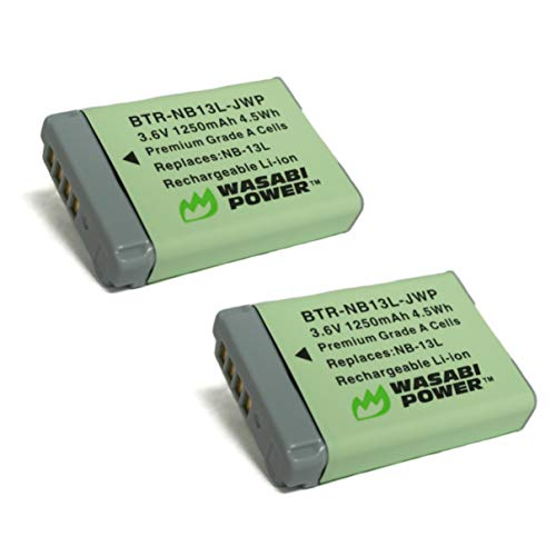Wasabi Power NB-13L Battery (2-Pack) for Canon PowerShot G1 X Mark III, G5 X, G7 X, G7 X Mark II, G9 X, G9 X Mark II, SX620 HS, SX720 HS, SX730 HS, SX740 HS