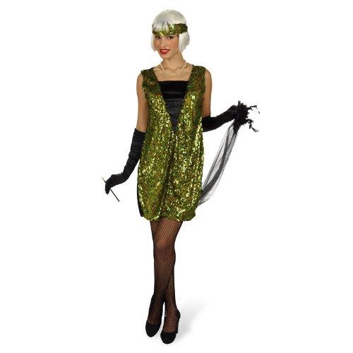 Elbenwald Disfraz de charlestón - Vestido de los años Veinte, Traje con Lentejuelas de Mujer, con Estola y Cinta, Verde - 40/42
