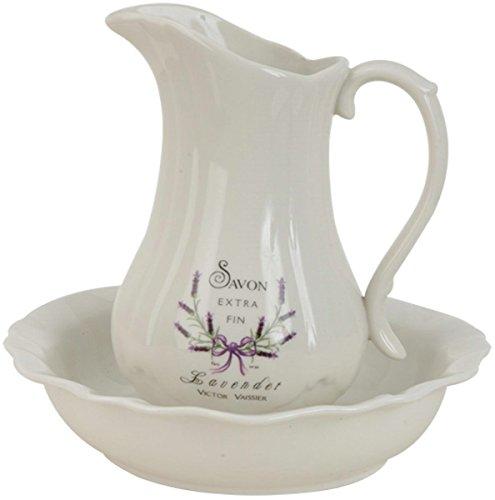 Clayre & Eef 60285 Waschset Keramik Lavendel Ca. Ø 24 x 5 / Ø 13 x 21 cm