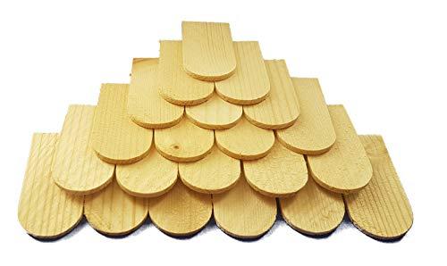 Mini-Holzschindeln Schindeln aus Fichtenholz - 100 Stück - geeignet für Krippe, Puppenhaus, Vogelhäuschen - Maße: ca.: 56 x 30 x 3 mm