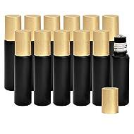 Holistic Oils Essential Oil Roller Bottles with Metal Roller Balls Bulk 12 PACK, 10ml Black Glass Bottles Apply Smooth onto Your Skin