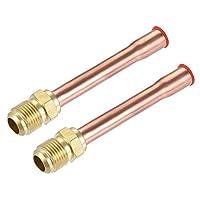 uxcell 真ちゅう製パイプ継手 SAE 45度 9.5mmフレアオスねじ チューブアダプター チューブ溶接付き エアコン冷凍用 2個