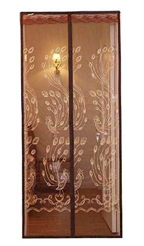 Embroidered Phoenix Pattern Hook Loop Fastener Magnetic Soft Yarn Door Curtain with Elegant Jacquard Lace Fit Door Full Frame Auto Close Anti Insect 35.45'X80.7'