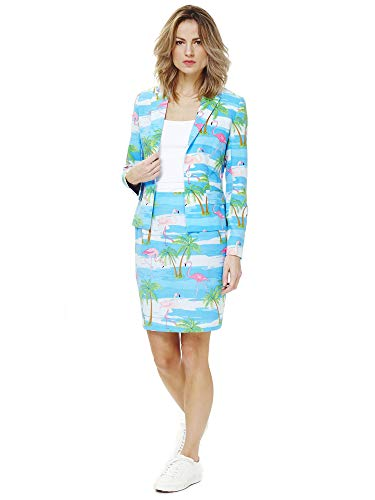 Donne Opposuit Flamingirl costume Flamingo, taglia 40, Blazer Gonna Carnevale Caraibico