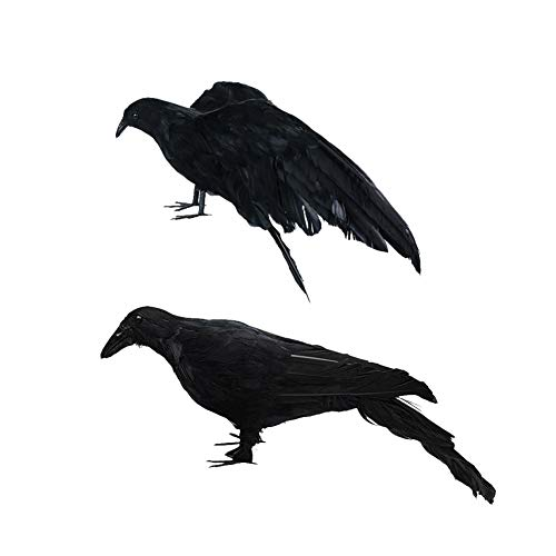 Skyoo 2 Pack Simulatie Halloween realistische gevederde kraaien Raven vogels, grappige Halloween Ornamenten Bar Prop Masquerade Home Party Decor