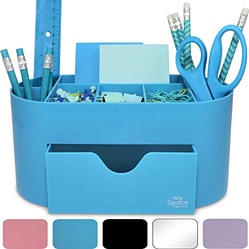 Blue Desk Organizer Acrylic, Office Supplies and Desk Accessories Pen Holder Office Organization Desktop Organizer for Room College Dorm Home School (Blue)