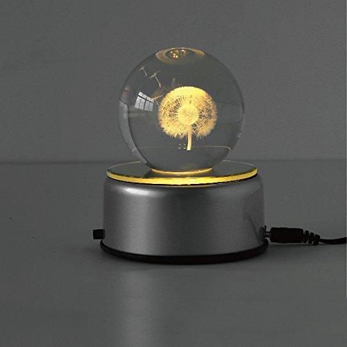 KMYX Creativo Mini luz de la Noche Gira la Bola de Cristal Mini pequeña lámpara de Mesa Año San Valentín Regalo de cumpleaños de Navidad Luna lámpara 9 * 11 cm (tamaño : Dandelion Style)