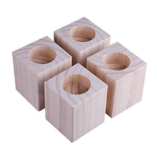 4 Packungen Betterhöhungen aus stabilem Holz, Möbelheber mit Innenrille zur Erhöhung von Betten – für Couch oder Tischerhöhungen, zum Anheben von Sofa-Beinen (Größe: C)