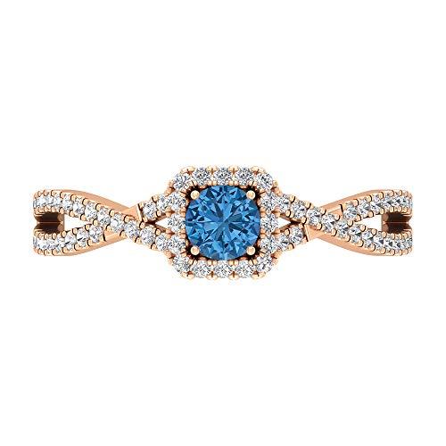 Rosec Jewels 14 quilates oro rosa redonda round-brilliant-shape H-I Blue Diamond Arctic Blue Lab creado