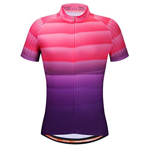 Maillot Ciclismo Hombre,Verano Transpirable Secado Rápido Camiseta Ciclismo Manga Corta Maillot MTB,con 3 Elástico Bolsillos Traseros,para Montañismo,Entrenamiento,Send(Size:XXL,Color:Rosado Morado)