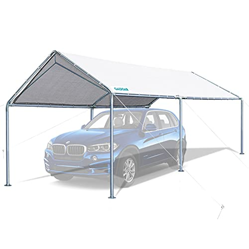 GALSOAR 10x20FT Carport, Outdoor Heavy Duty Car Tent Shelter with 6 Steel Legs and 3 Reinforced...