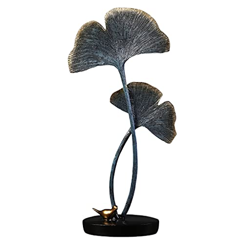 MagiDeal Escultura de Hoja de Ginkgo de Madera y Resina para decoración de habitación Escultura de Arte Artesanal para Sala de Estar Pasillo Habitación Consola