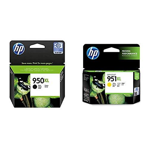 HP 950XL Cartucho de Tinta Original de Alta Capacidad, Negro + 951XL CN048AE Amarillo, Cartucho de Tinta de Alta Capacidad Original, de 1.500 páginas