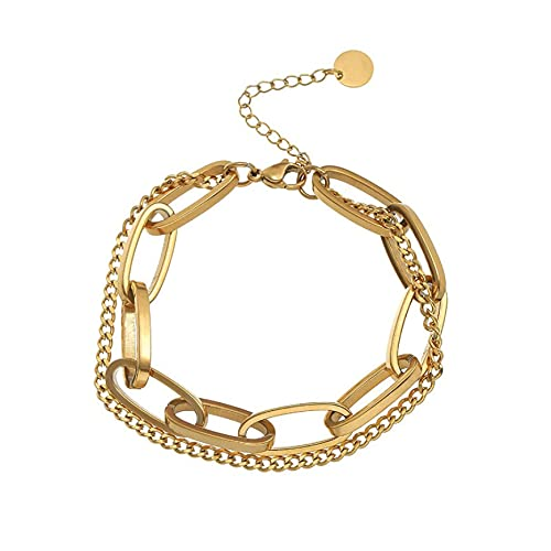xingguang Indio pulsera de acero inoxidable moda joyería de gama alta Hip Hop Street Dance Accesorios de las mujeres encanto exagerado gruesa cadena pulsera india