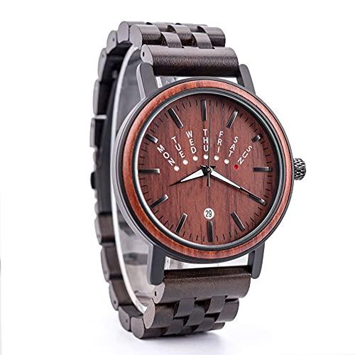 yuyan Reloj de madera de sándalo hecho a mano, calendario de semana luminoso reloj de madera, movimiento japonés, reloj de madera de cebra, reloj de mujer, elegante lujo, salud natural, vacaciones
