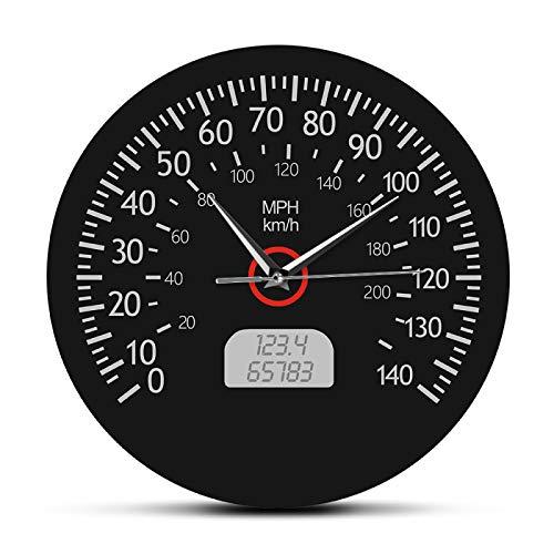Velocímetro, kilómetros y Millas, Reloj de Pared Impreso, mecánico de Carreras, Arte de Pared, indicador de Tablero de Coche Negro, Reloj de Pared, decoración de Garaje