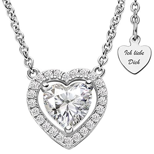 Halskette Silber 925   Herzkette mit großem ZIRKONIA-STEIN   Silberkette mit Herz-Anhänger am Verschluss   Kette Damenkette + Geschenk-BOX *Ich liebe Dich*   Silber-Schmuck Damen Frauen Freundin