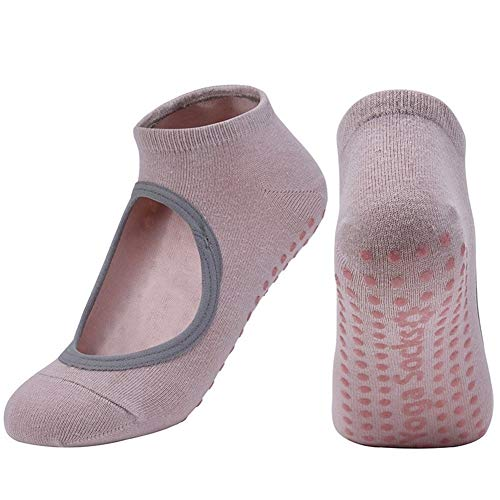 Transpirable anti-fricción Mujeres Yoga calcetines de silicona no Slip Pilates Barre transpirable calcetines deportivos danza zapatillas con Grips ( Color : Champagne , Size : EUR 35 40 US 4.5 8.5 )