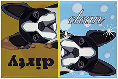 CafePress Dirty Clean Boston Terrier Dog Rectangle Magnet 2 x3 Refrigerator Magnet product image