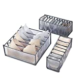 Fship Underwear Drawer Organizer, Compartment Foldable Underwear Organizer, Include 6/7/11 Compartment Nylon Compartments, Organize Socks, Bras, Underwear, Storage Box Organizer (Gray)
