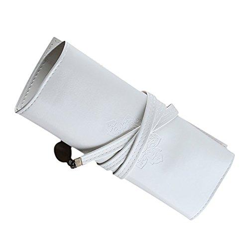 Dosige Etui, multifunctioneel, oprolbaar, etui, zijdelingse opbergtas van leer, handtas, afmeting 20 x 21 cm (wit 2)