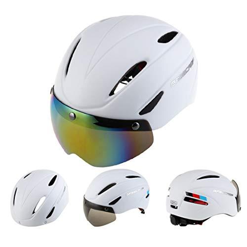 Helmet Helmet Base Camp Colorful Men and Women Road Mountain Bike Magnetic Goggles Helmets Riding Safety Helmet Head Circumference Fit for 56-62cm(Blue) Bike Helmet (Color : White)